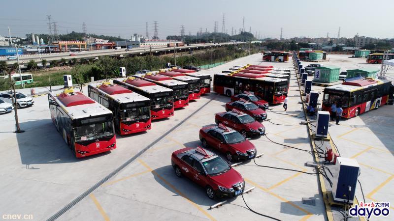 广州市番禺区首个大型纯电动公交车充电站落成