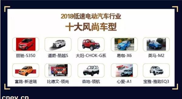60万用户见证:2018低速电动汽车行业十大风尚车型诞生!