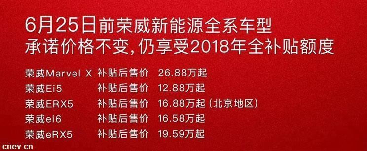 """2019补贴政策的颁布 上汽荣威做出""""保价""""承诺"""